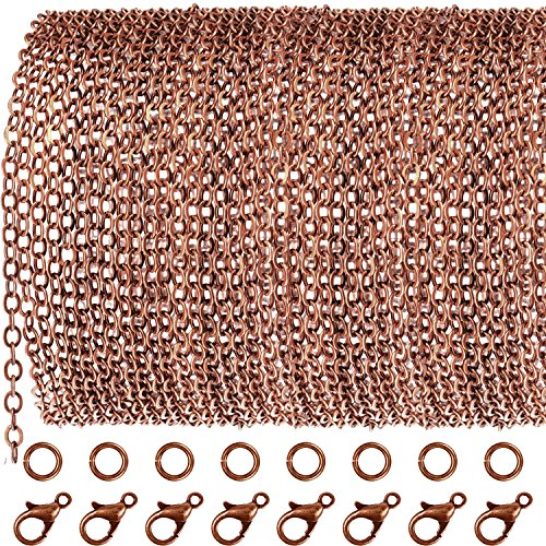 TecUnite 33 Feet Antique Red Copper Chain Link Necklace with 30 Pieces Jump Rings and 20 Pieces Clasps for DIY Jewelry Making (1.5mm) -