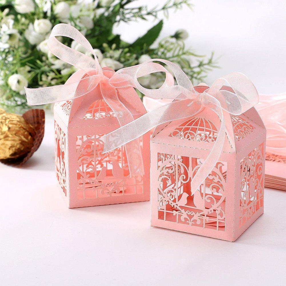 Amazon.com: Confidanilin 50 PCS bride and groom wedding favor box ...