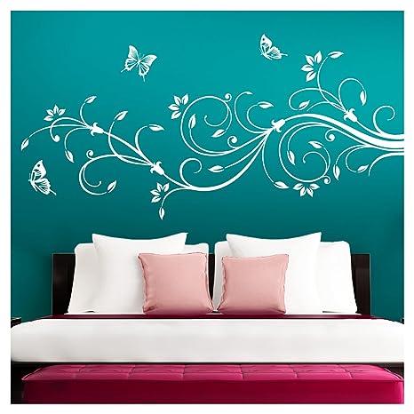 Grandora Wandtattoo XXL Blumenranken Schmetterlinge Blumen I weiß (BxH) 90  x 39 cm I Schlafzimmer Liebe Flur Wohnzimmer modern Aufkleber Wandaufkleber  ...