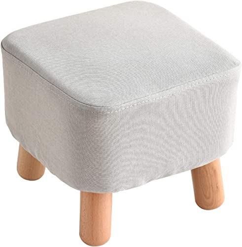 IBUYKE Small Footstool Solid Wood Ottoman Stool Sofa Tea Stool Change Shoes Bench Footrest Stepstool Padded Seat Wooden Legs Living Room Bedroom GL-BD020