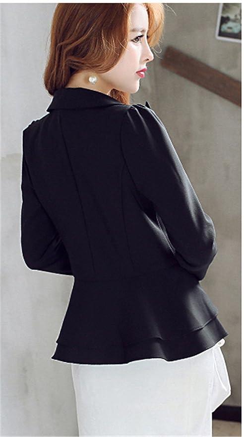 53cb43dc024b36 JOTHIN Femme Volant Blazer Veste de Tailleur Slim OL Manche Longue ...