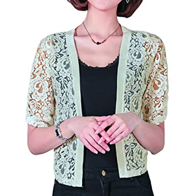 3648ca76783 Rgslon Women Sheer Flora Lace Shrugs Lightweight Bolero Crochet Knit Women  Cardigan Apricot