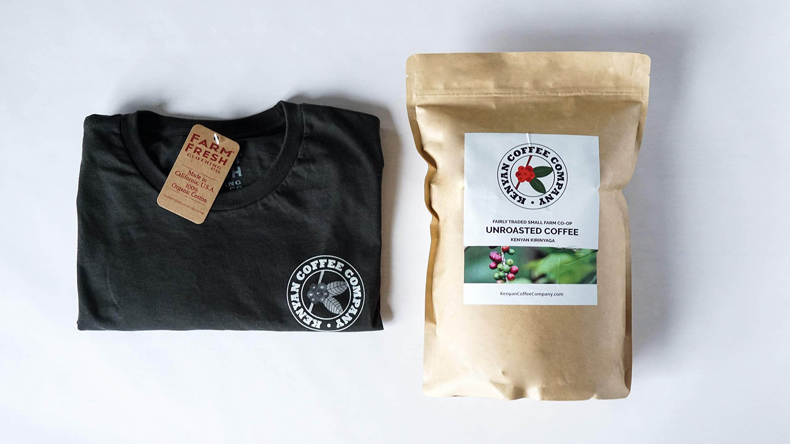 Single Origin Unroasted Green Coffee Beans, AA Grade From Small Regional Kenyan Coffee Farmer Co-Op. Direct Trade (5 Pounds & Free T-Shirt)
