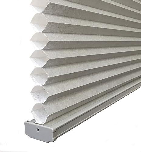 BlindDen Gray, Light Filtering Cellular Honeycomb Shades, 57 Wide x 48 Long, Cordless