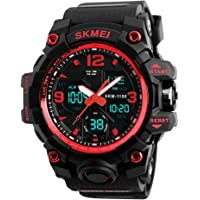 SKMEI Reloj para Hombre, Digital y Análogo, Deportivo y Militar, Retroiluminación, Resistente al Agua, con Cronómetro, Alarma y Fecha, Modelo 1155B. Negro con Rojo