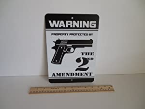 Warning Property Protected by 2nd Amendment Home Security Metal Yard Sign Stock # 723