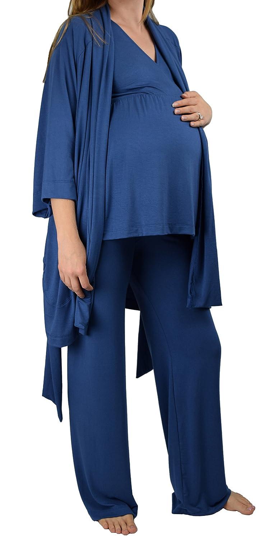 Embrace Your Bump Super Soft 4 Piece Maternity & Nursing Hospital Bag Essentials Pajama Set