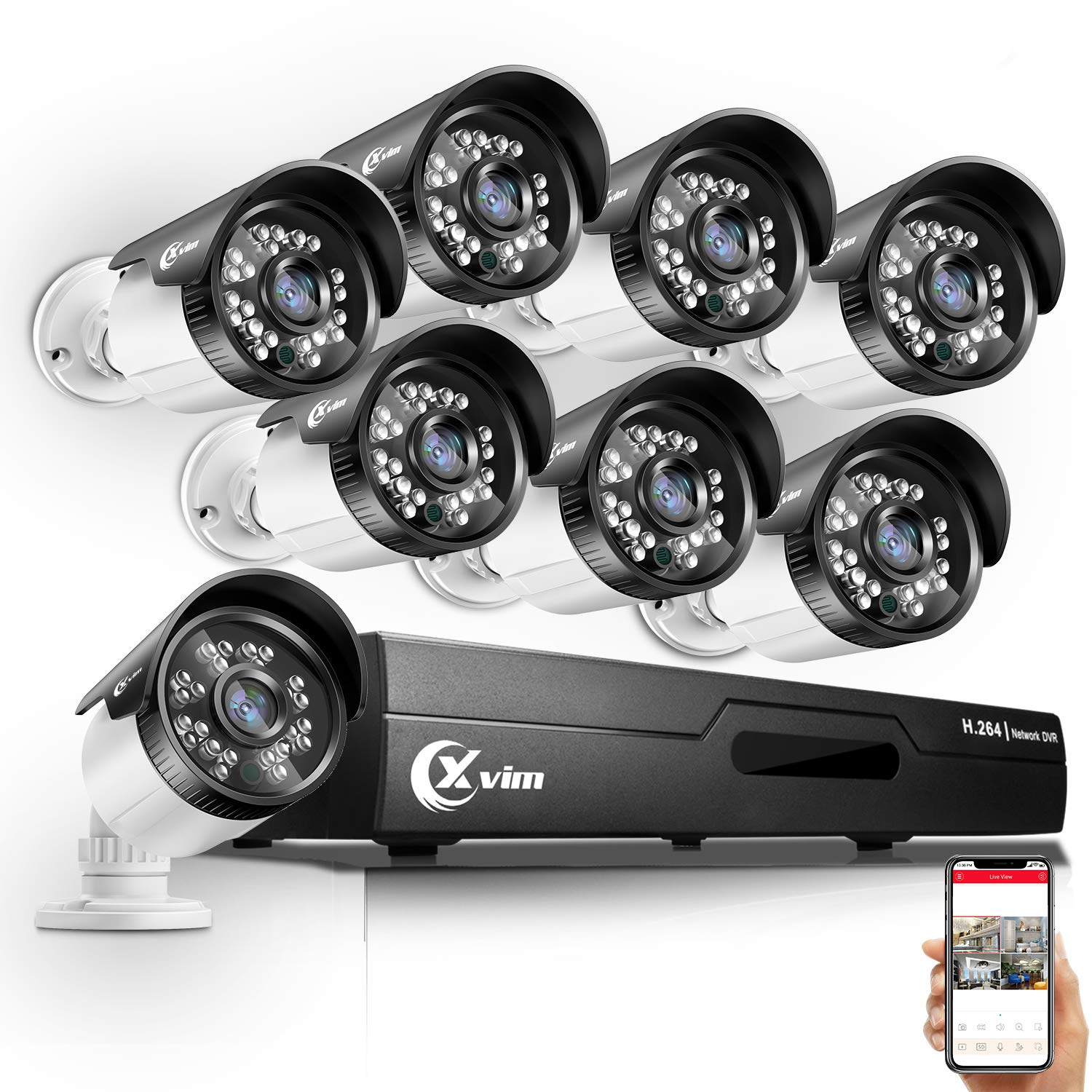 XVIM 8CH HD-TVI 720P Security Camera System,1080N HDMI CCTV DVR Recorder with 8pcs 1.0MP 720P 85ft Night Vision Outdoor Weatherproof Bullet Home Surveillance Cameras No Hard Drive