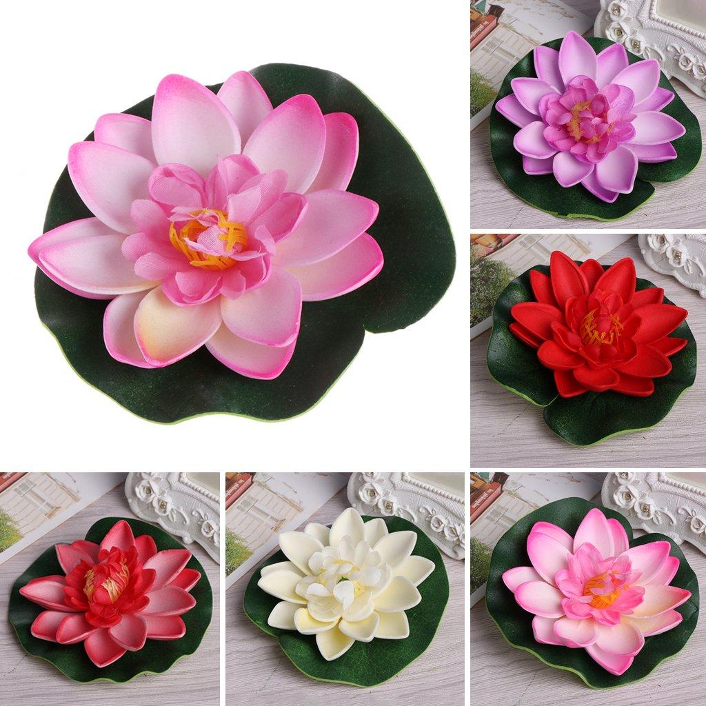 Runrain K/ünstliche gef/älschte schwimmende Blumen Lotus Seerose Pflanzen Garten Tank Teich Dekor Light Pink