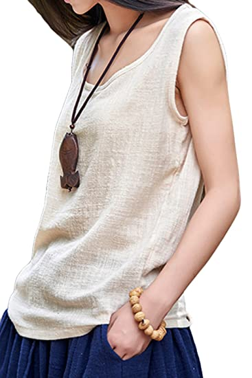 ASHER FASHION Womens Summer Cute Plus Size Sleeveless Cotton Linen Top  Blouses(One Size