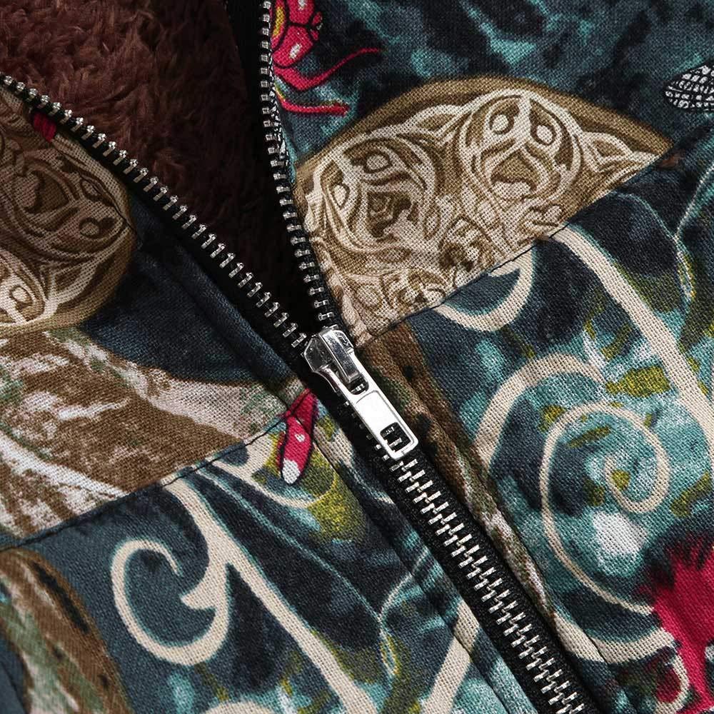 Luckycat Abrigos Mujer Invierno Elegantes Impreso M/áS Grueso Chaqueta Jersey Mujeres Talla Grande Suelto Hoodie Sudadera con Capucha Prendas De Cardigan Parka C/áLida Tops