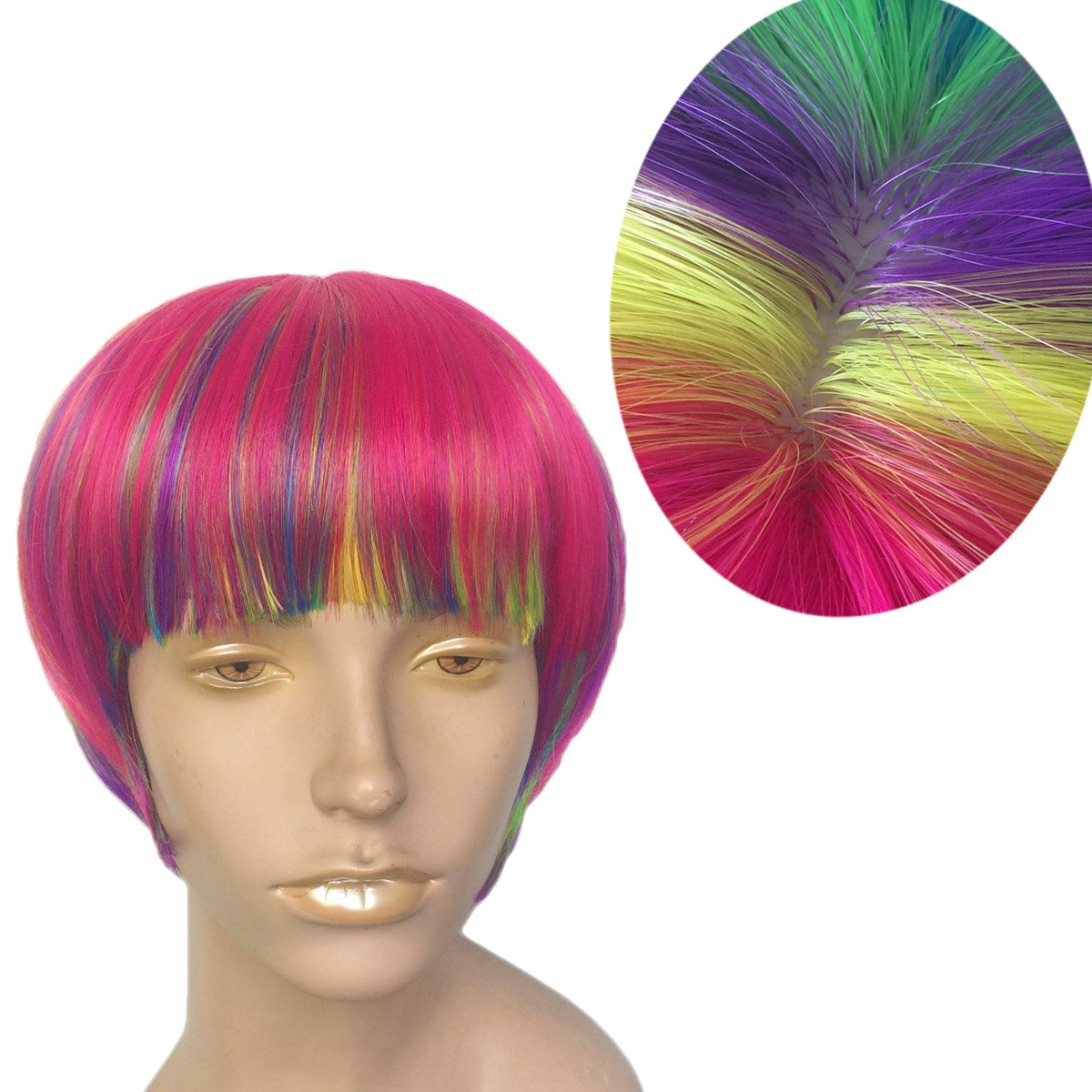 Short Rainbow Wig Cosplay Wigs Heat Resistant Synthetic Fiber BOB Hairpiece , Free Wig Cap by Namecute (Image #2)
