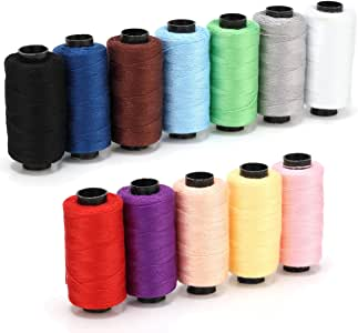 Sewing Thread Assorted 12 Colors Polyester Thread Spool 180 Yards Each for Carpet Canvas Jeans DIY Hand Sewing