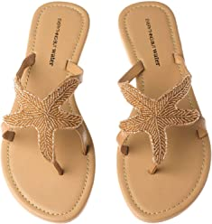 Olivia Miller Womens Beaded Starfish Flip Flop Thong Sandals