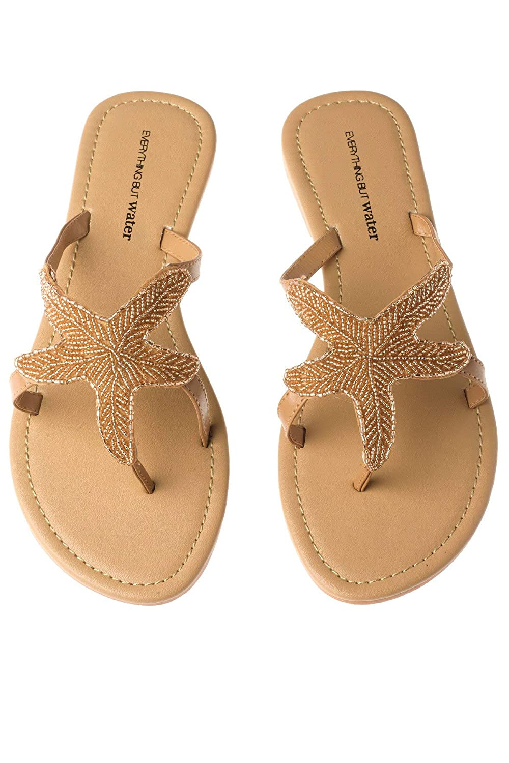Women's Champagne Beaded Starfish Flip-Flop Thong Sandals - DeluxeAdultCostumes.com