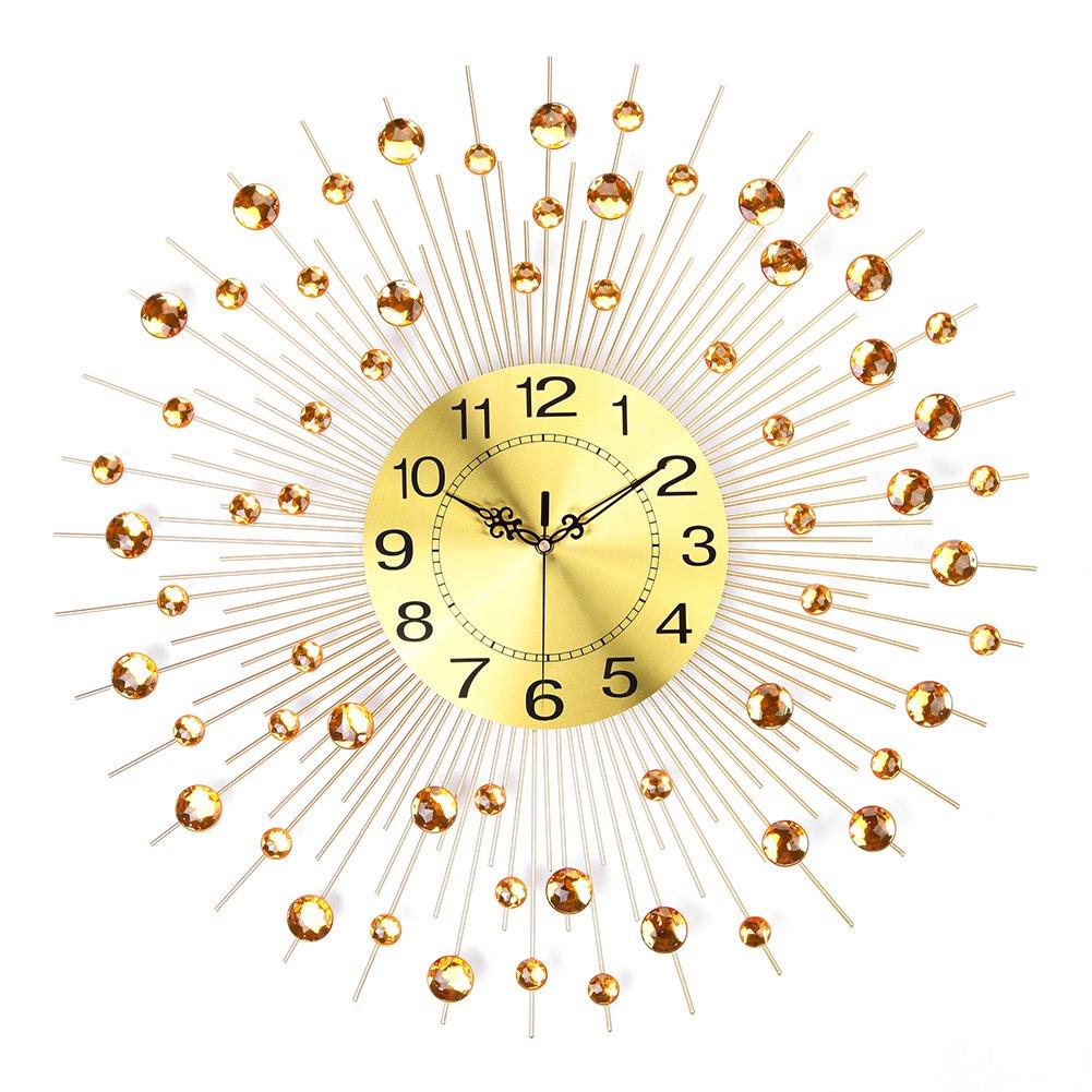 Amazon.com: NEOTEND 3D Wall Clock 64pcs Diamonds Decorative Clock ...