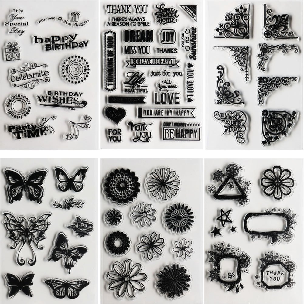 SOOKOO 6 Sheets Assorted Clear Stamps for Card Making Decoration and Scrapbooking Flower Butterfly Friendly Phrases Clear Stamps