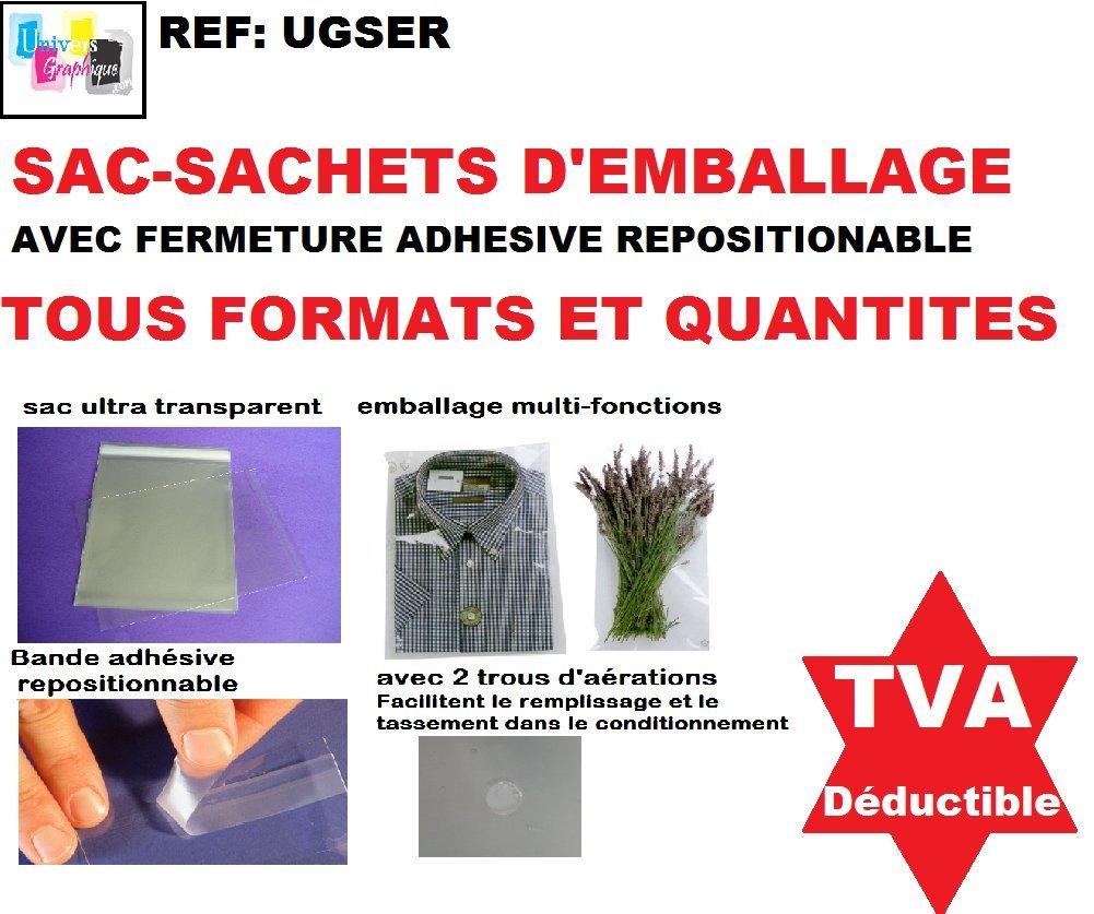 Sac Sachet plastique /à fermeture autocollante adh/ésive repositionnable enveloppe de protection ultra transparente avec trou d/'a/ération pour emballage,conditionnement et pr/ésentation de produit 14 FORMATS DE 100 /à