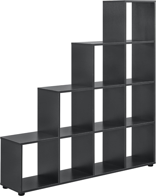 en.casa]®] Estantería en Forma de Escalera estilosa - Estantería de Almacenamiento con 10 compartimientos - Estantería de pie 138 x 142 x 29cm - Armario - Gris: Amazon.es: Hogar