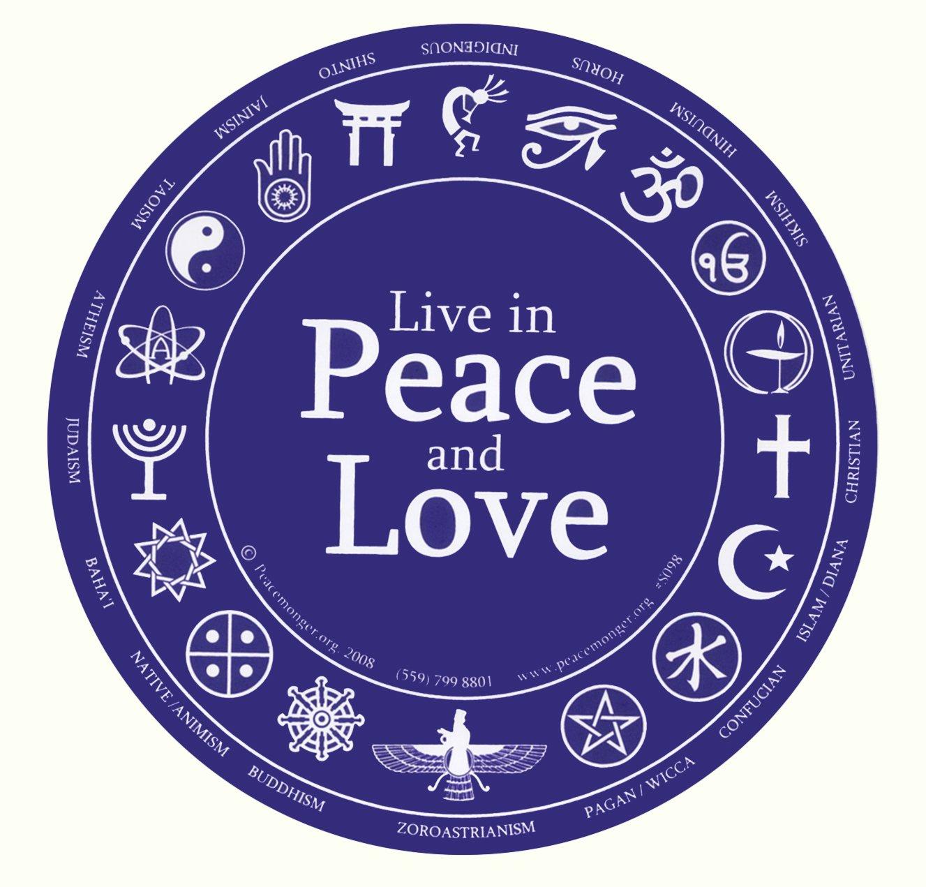 Amazon live in peace and love bumper sticker automotive biocorpaavc