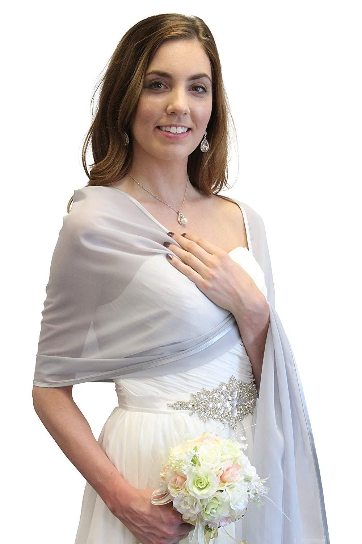 BeiWeiTe Womens Chiffon Bridal Evening Soft Wrap Scarf Shawl (Silver) by BeiWeiTe