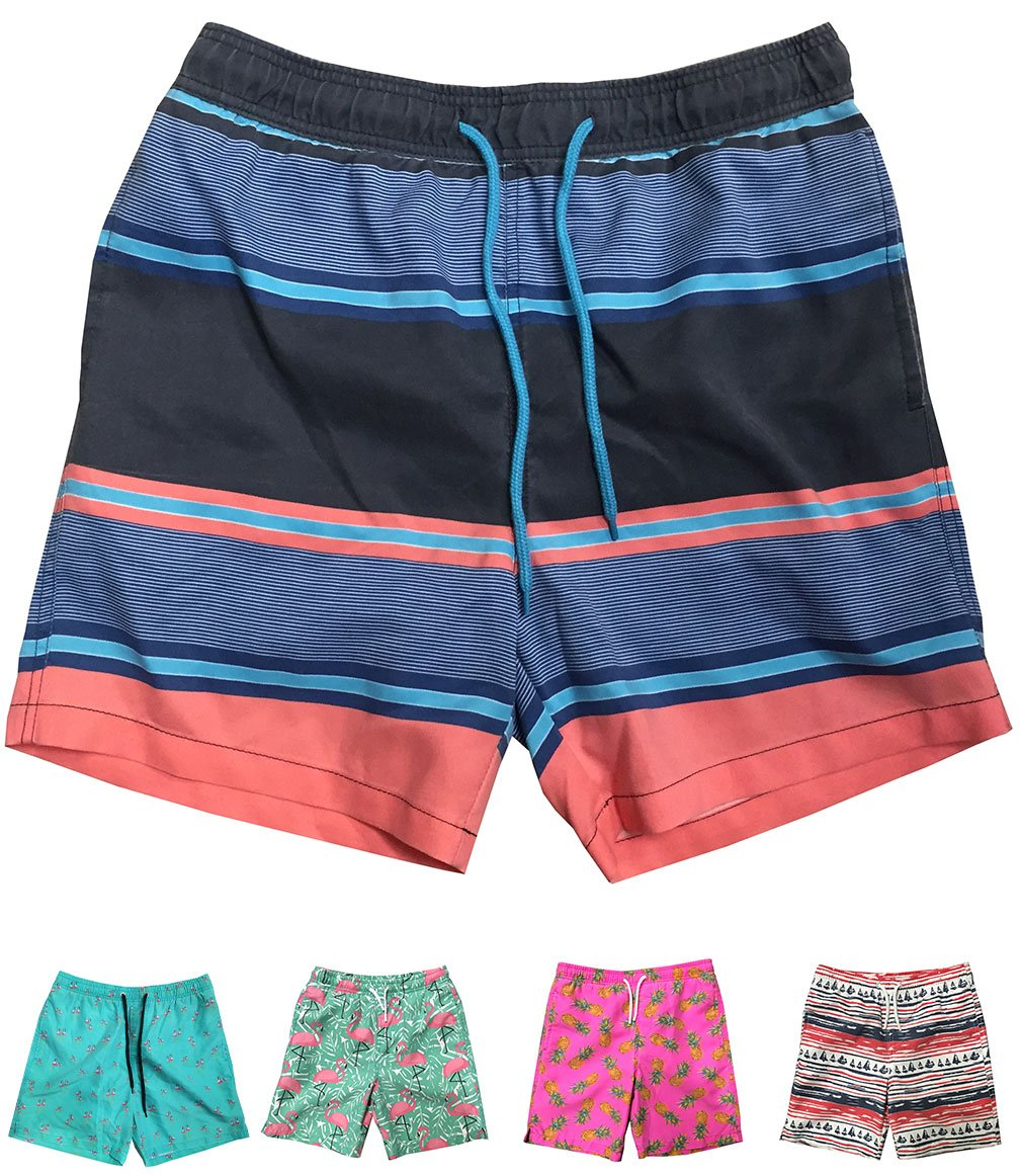 INGEAR Little Boys Quick Dry Beach Board Shorts Swim Trunk Swimsuit Beach Shorts with Mesh Lining (Multi Color Stripes, 3T)