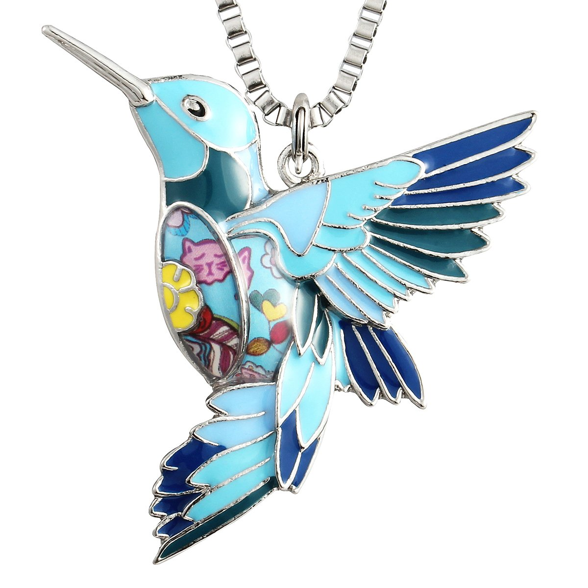 Luckeyui Blue Hummingbird Necklace Jewelry for Women Unique Bird Charm Pendants Birthday Gifts