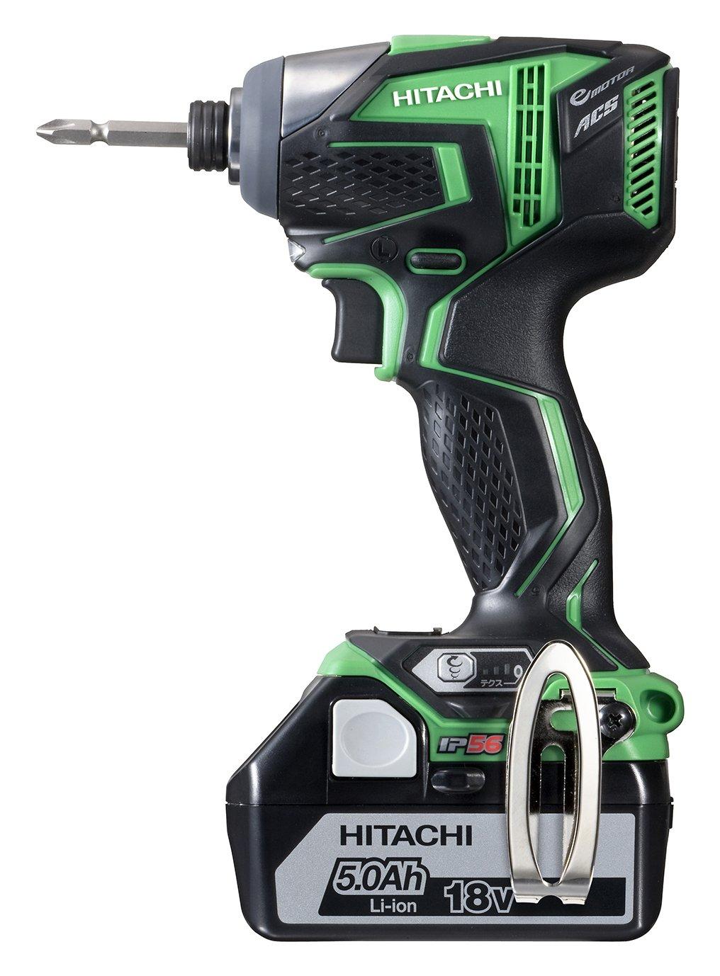 日立工機 18V コードレスインパクトドライバー 充電式 5.0Ahリチウムイオン電池、充電器、予備電池、ケース付 グリーン WH18DDL(2LJCK)(L) B00FIUYT9U 緑 緑