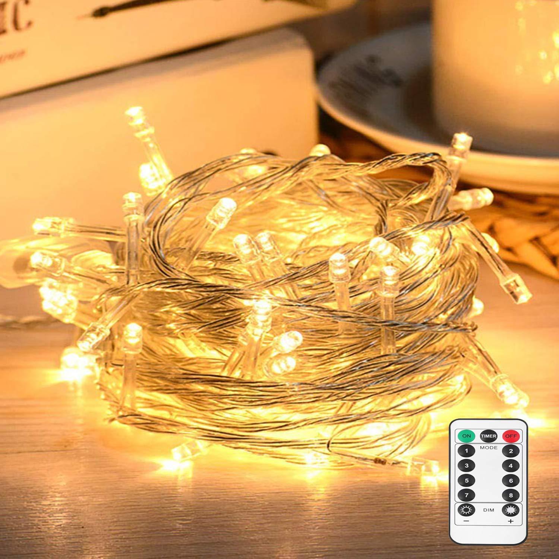 10M 100 LED Lichterkette mit Fernbedienung und Timer 8 Modi Dimmbar Batterie oder USB betrieben Lichterkette Außen Innen für Zimmer Weihnachten Weihnachtsbaum Party, Hof - Warmweiß [Energieklasse A+++] Hof - Warmweiß Nasharia