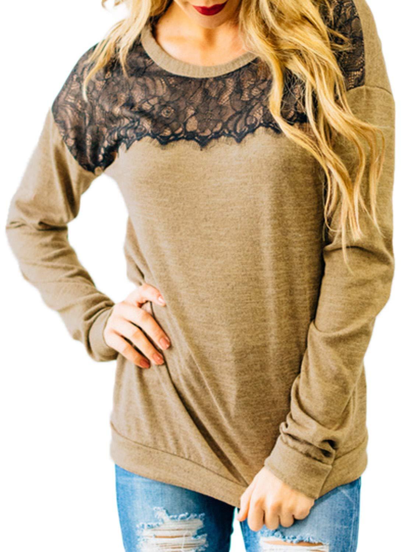 HOTAPEI Casual Crewneck Lace Sweatshirt Loose Womens Shirts and Tops for Women 2018 Fashion Pullover Long Sleeve Blouse Khaki Medium