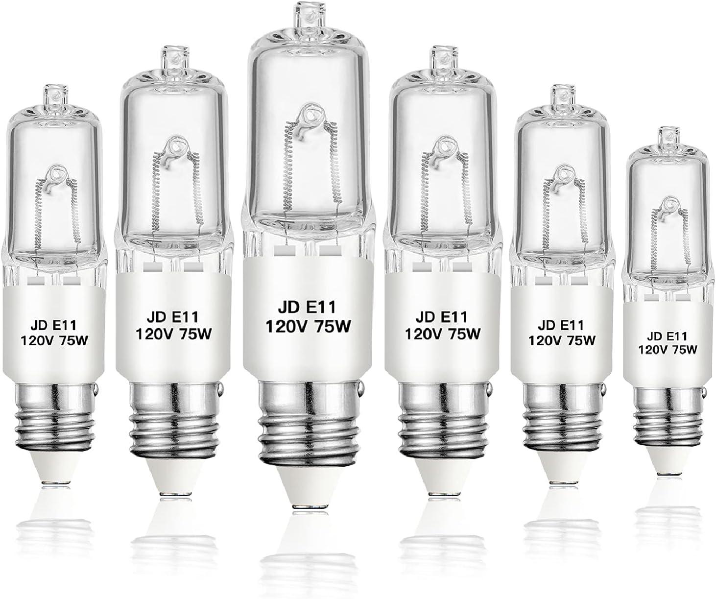 Jaenmsa E11 Light Bulbs, JDE11 120v 75w Halogen Light Bulb Dimmable T4 E11 Mini Candelabra Base Lamp Bulb, High Output 1050lm 2700K Warm White for Ceiling Fan, Lamp, Chandeliers, Cooker Light (6 Pack)