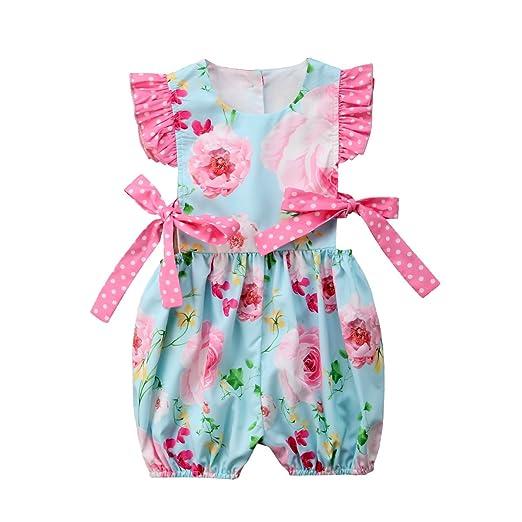 dc1508ba03a Aliven Newborn Baby Girls Dot Floral Flutter Sleeve Rompers Bodysuit One  Piece Jumpsuit Sunsuit Clothes Outfits