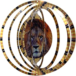 WorldaWhirl Whirligig 3D Wind Spinner Lion Kinetic Twister Yard Art Home Decor Stainless Steel (6.5 Inch)
