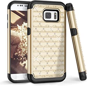 TILL for S7 Case, Galaxy S7/S VII Back Case for Girls, TILL Studded Rhinestone Crystal Bling Shock Absorbing Hybrid Dual Layer Defender Rugged Slim Case Cover for Samsung Galaxy S7 G930 GS7 [Gold]