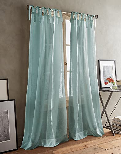 DKNY Paradox Tie Tab Sheer Window Curtain Panel Pair