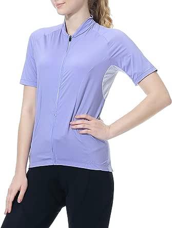 Cycling Jersey Women's Short Sleeve Bike Biking Shirts Full Zip Bicycle Tops Cycling Clothes with 3 Pockets