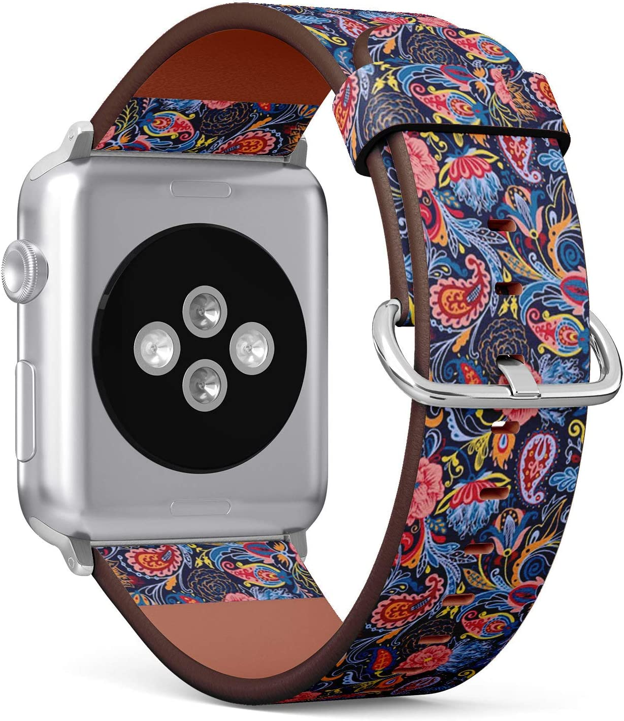 Compatible with Big Apple Watch 42mm & 44mm (All Series) Leather Watch Wrist Band Strap Bracelet with Stainless Steel Clasp and Adapters (Paisley)