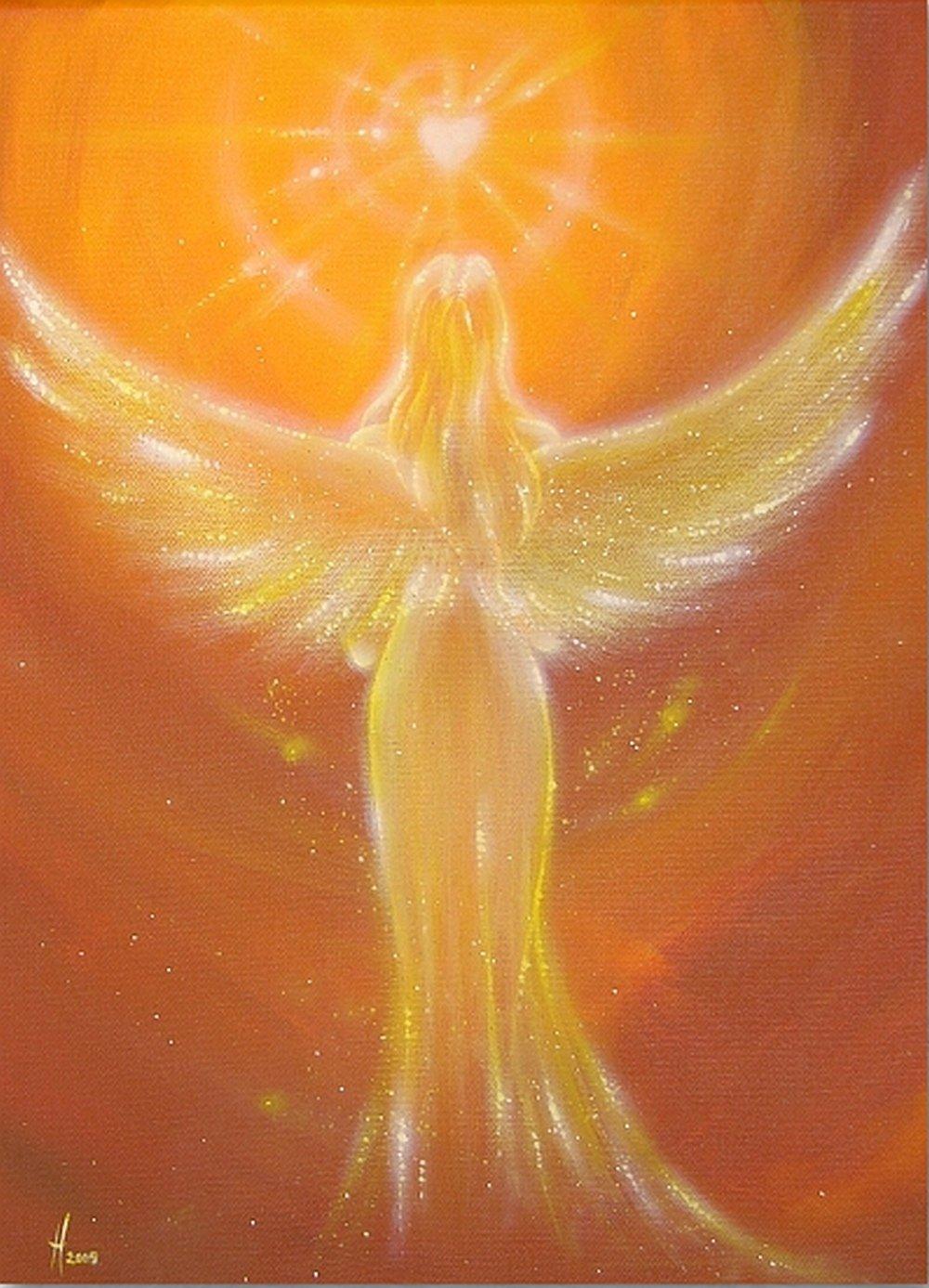 Beste Freundin Geschenkideen f/ür Frau Engelbild in Braun Orange Gelb Kunstfoto: Das Herz wei/ß es Herzbild mit Engel