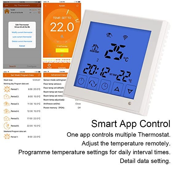 Bonega WiFi Smart - Termostato programable con pantalla LCD táctil para sistema de calefacción de agua y suelo eléctrico: Amazon.es: Bricolaje y ...