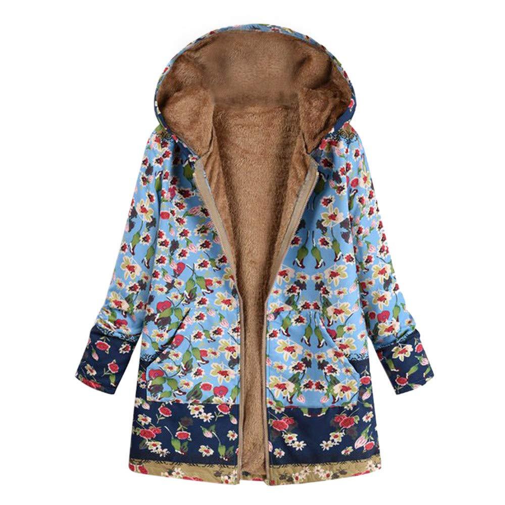 Bealeuy Winterjacke Parka Damen Warm Outwear Blumendruck mit Kapuze Taschen Vintage Oversize Coats Jacken Winter Anorak Print Hooded Taschen Hasp Mäntel