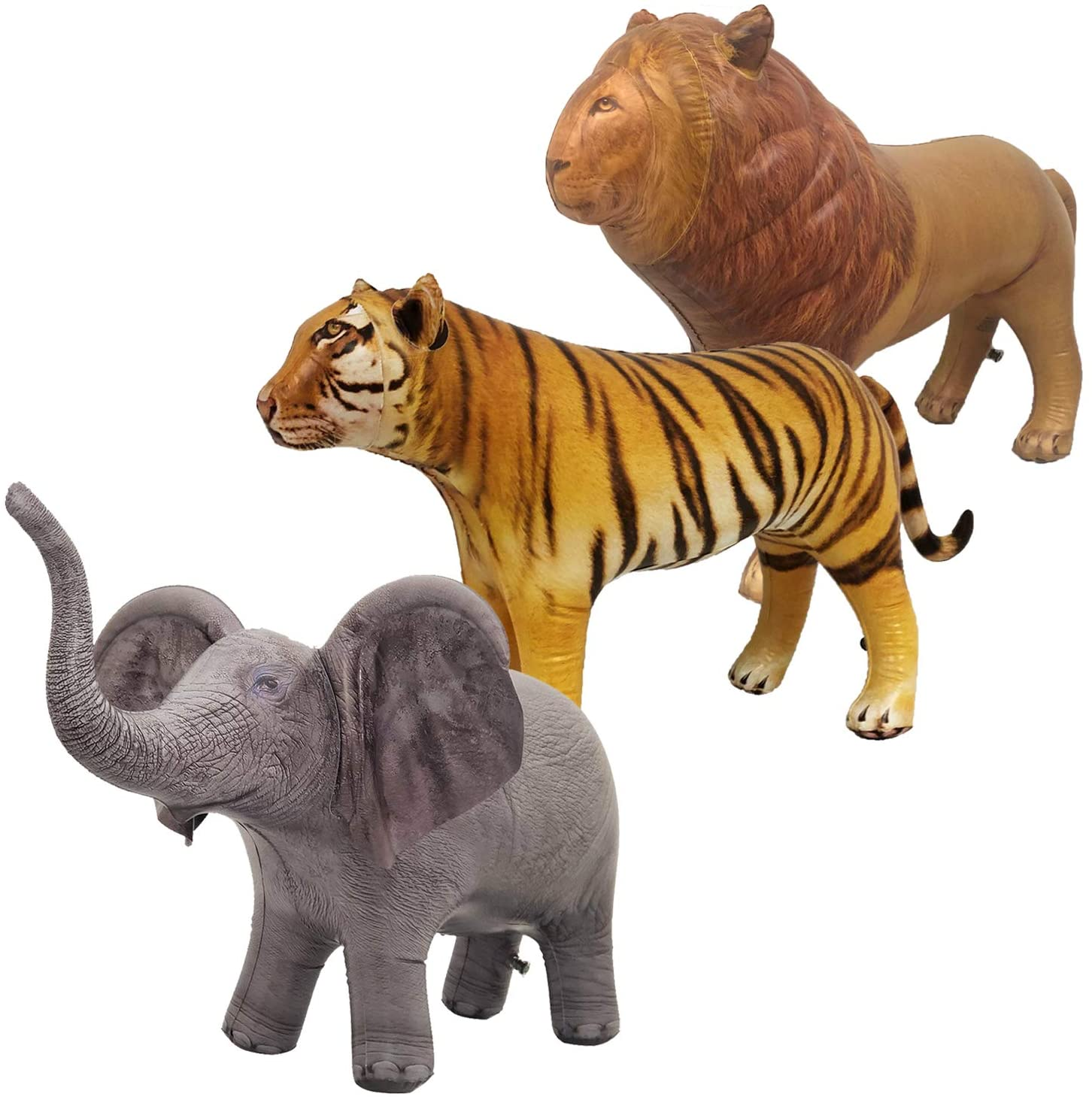 Jet Creations Safari 3 Pack Lion Tiger Elephant Inflatable Air Stuffed Plush Animal Great for Pool, Party Decoration Toys and Gifts, Size 36 to 40 inch, JC-LTE
