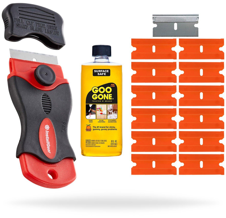 InstallGear Razor Scraper with 12 Safety Plastic Razor Blades and 2oz. Goo Gone by InstallGear