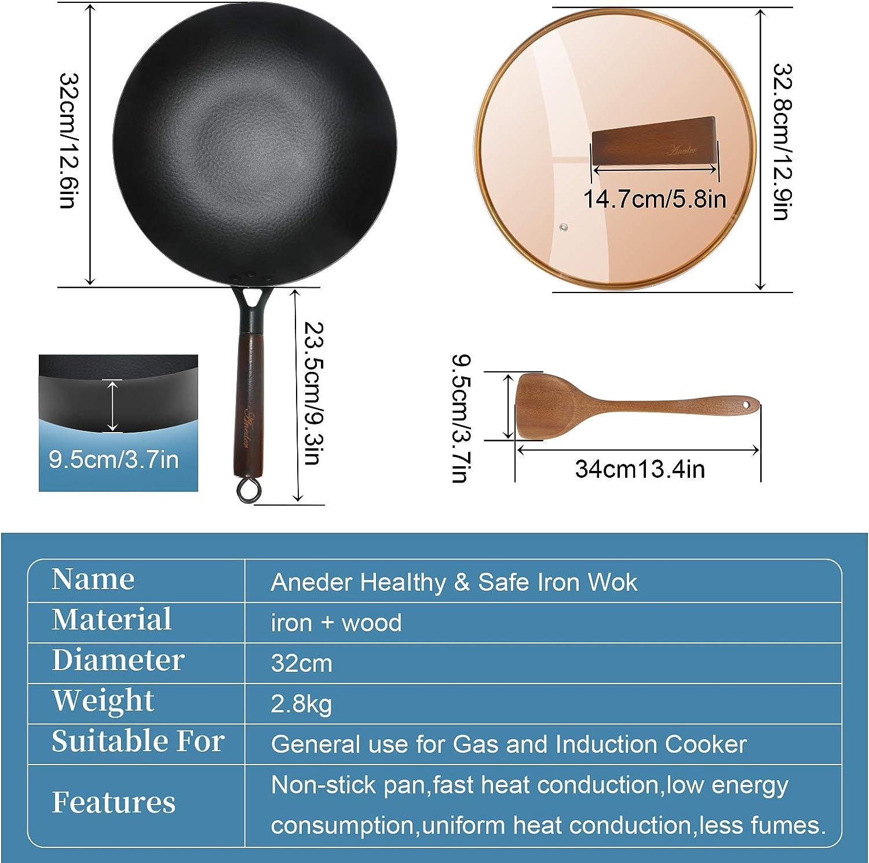 Induktions- und Gasherde 31,8 cm Aneder Wokpfanne aus Karbonstahl mit Deckel Holzspatel im Lieferumfang enthalten Gusseisen-R/ührpfanne mit flachem Boden und Holzgriff f/ür Elektro-
