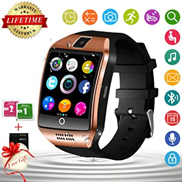 Montre Connectée, Bluetooth Smartwatch Montre Intelligente Etanche SIM/TF Carte Slot Sport Pédomètre Whatsapp