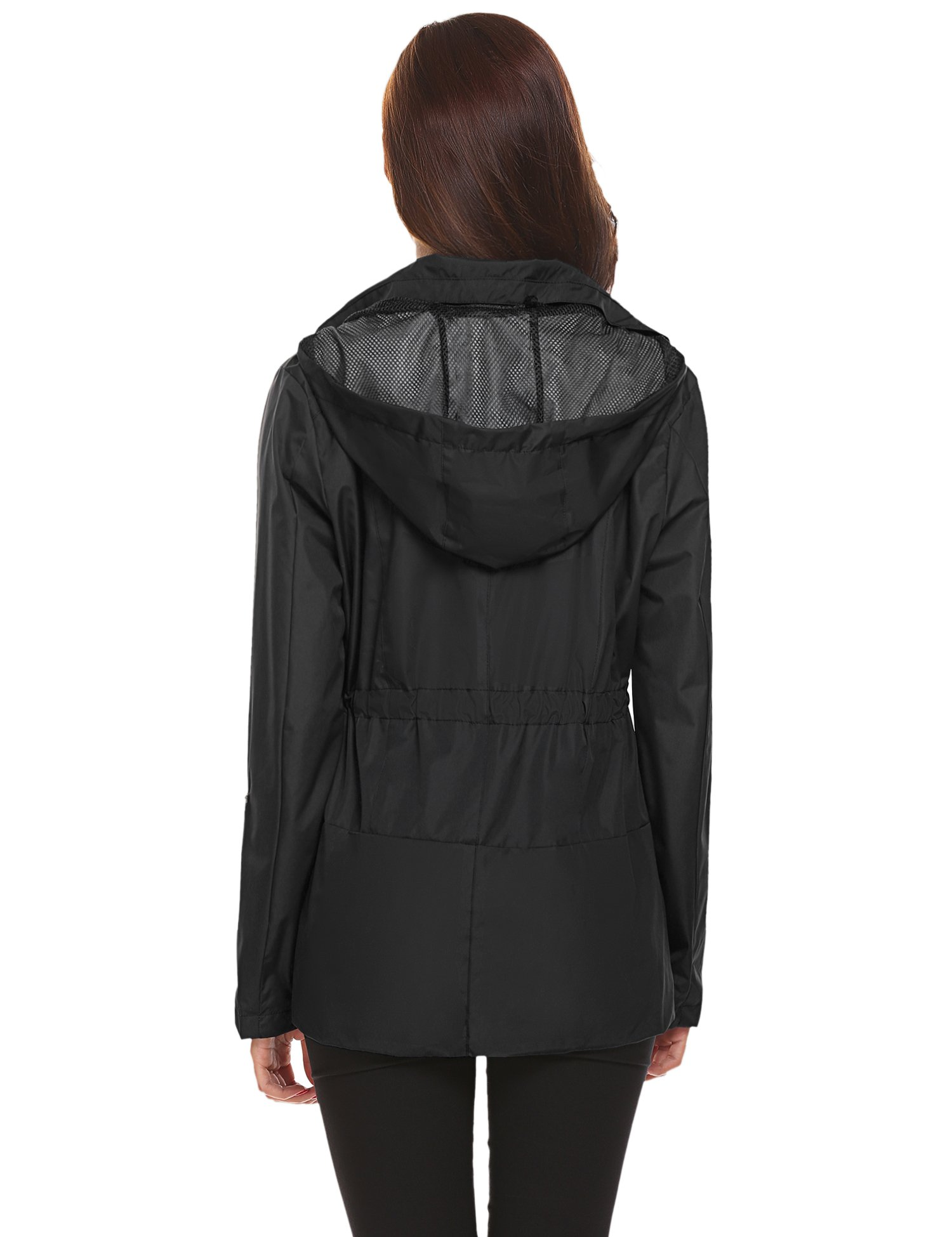 Romanstii Outdoor Jacket Women,Waterproof Raincoat with Hood Active for Camping Hiking 2X by Romanstii (Image #3)