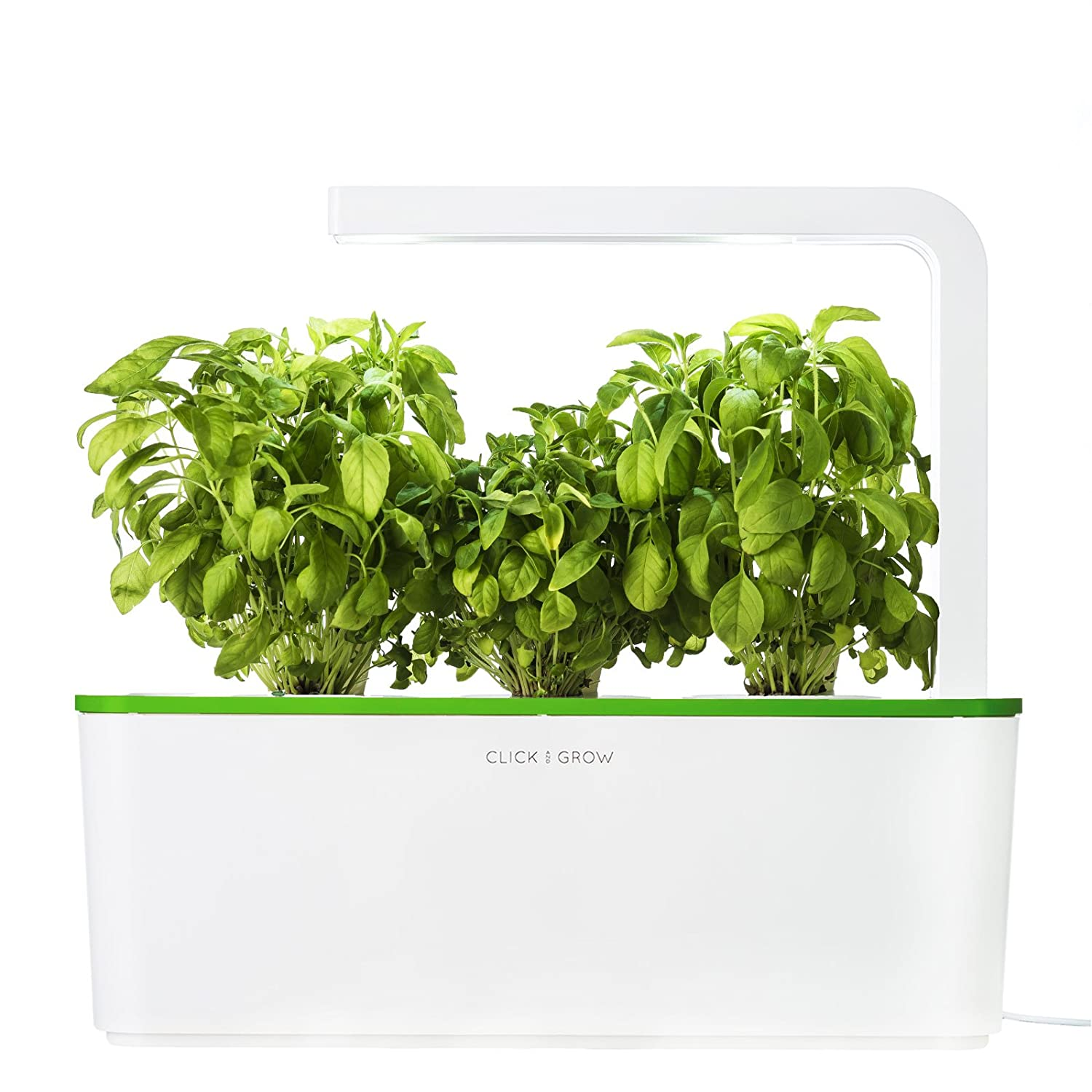 Click & Grow Indoor Smart Fresh Herb Garden Kit With 3 Basil Cartridges & Kiwi Green Lid | Self Watering Planter & Patented Nano-Tech Medium For Plant Growth