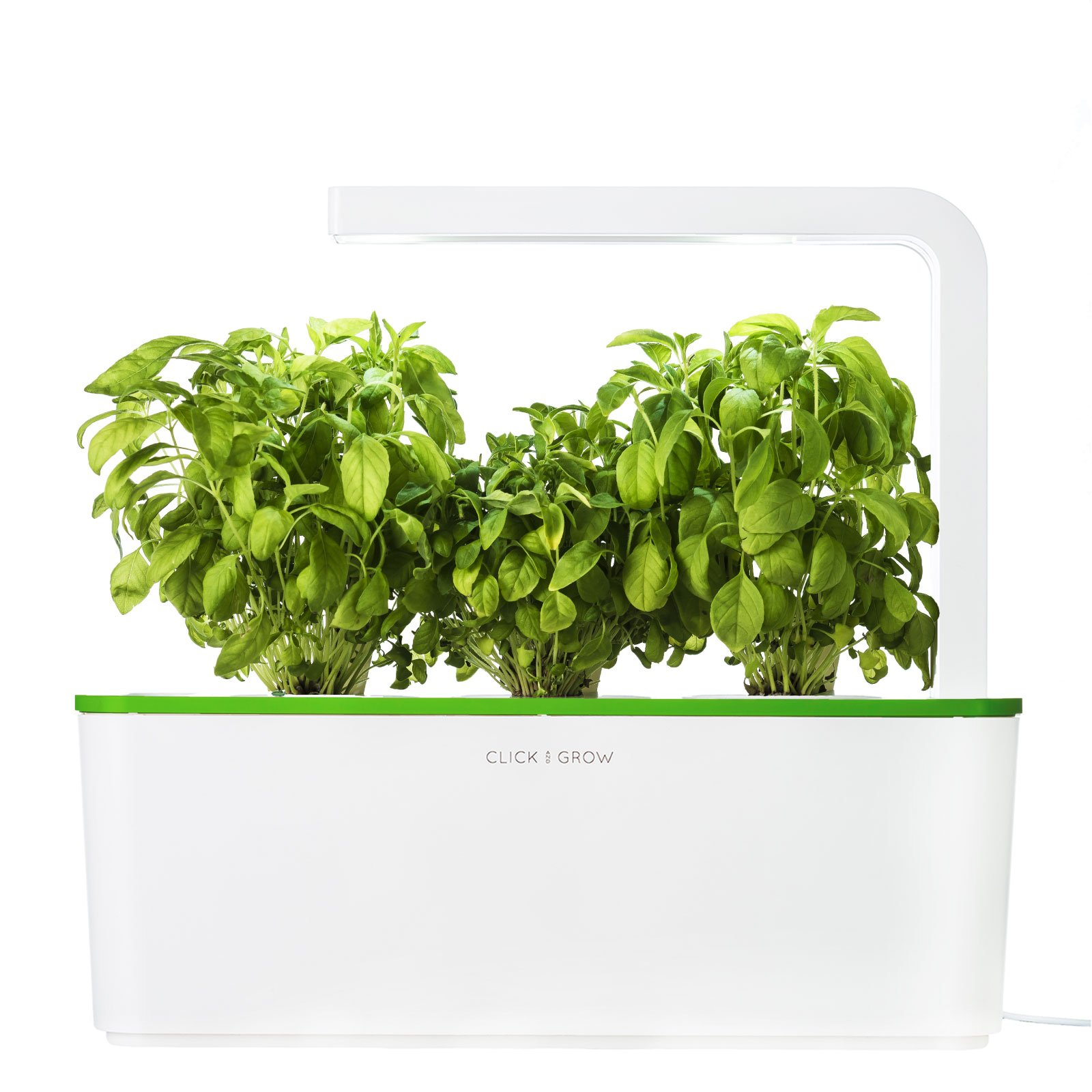 Click & Grow Indoor Smart Fresh Herb Garden Kit With 3 Basil Cartridges & Kiwi Green Lid | Self Watering Planter & Patented Nano-Tech Medium For Plant Growth by Click and Grow