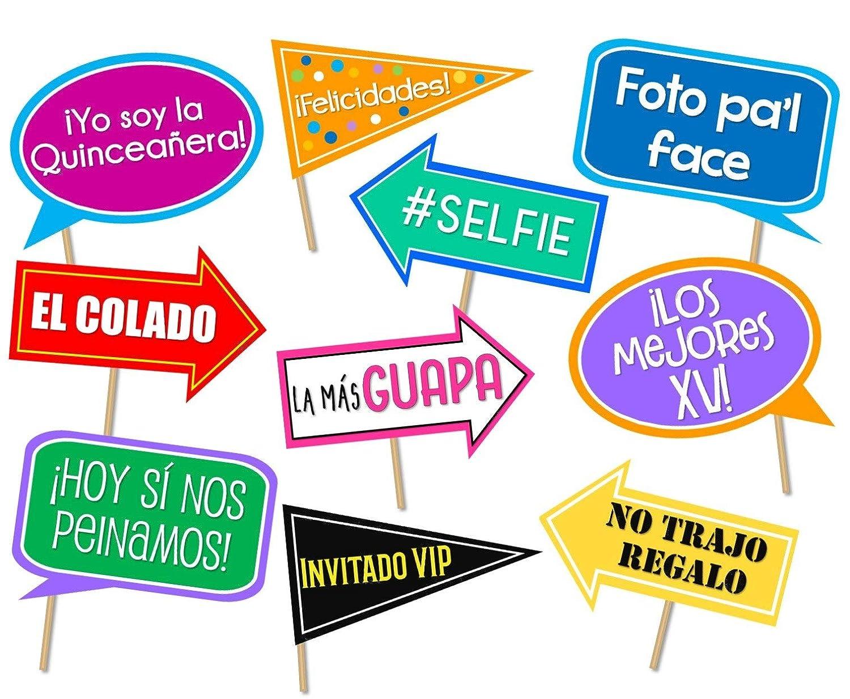 Quinceañera photo booth props in Spanish. Letreros para fotos de XV años. Carteles para fotos en español Quinceanera. No assembly required. Ready to ...