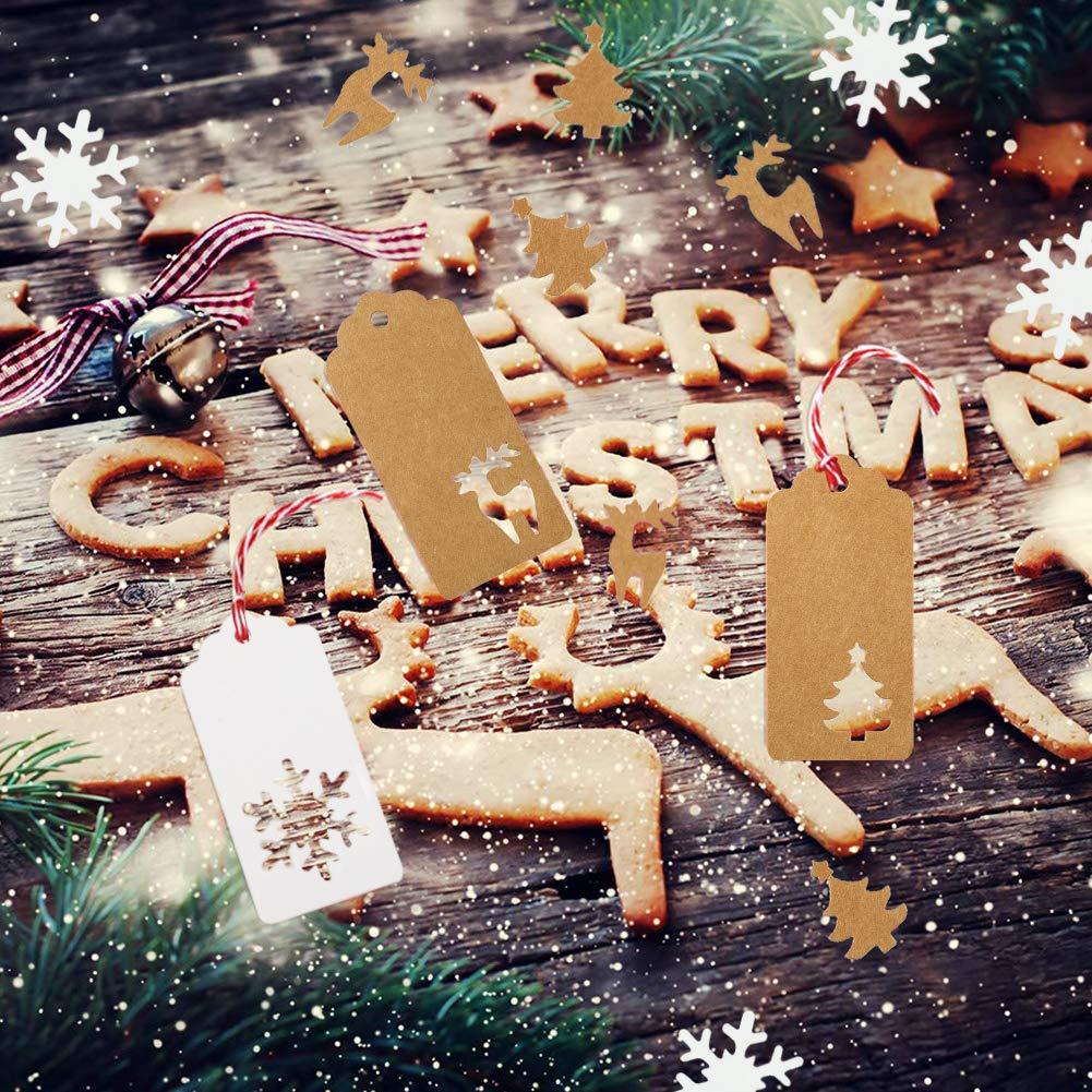 HAKACC Weihnachten Etiketten Anhänger, 150 Stück Geschenkanhänger Kraftpapier Tags Anhängeschilder mit Schnur für Dekorieren von Weihnachtsbaum, handgemachte Arbeit