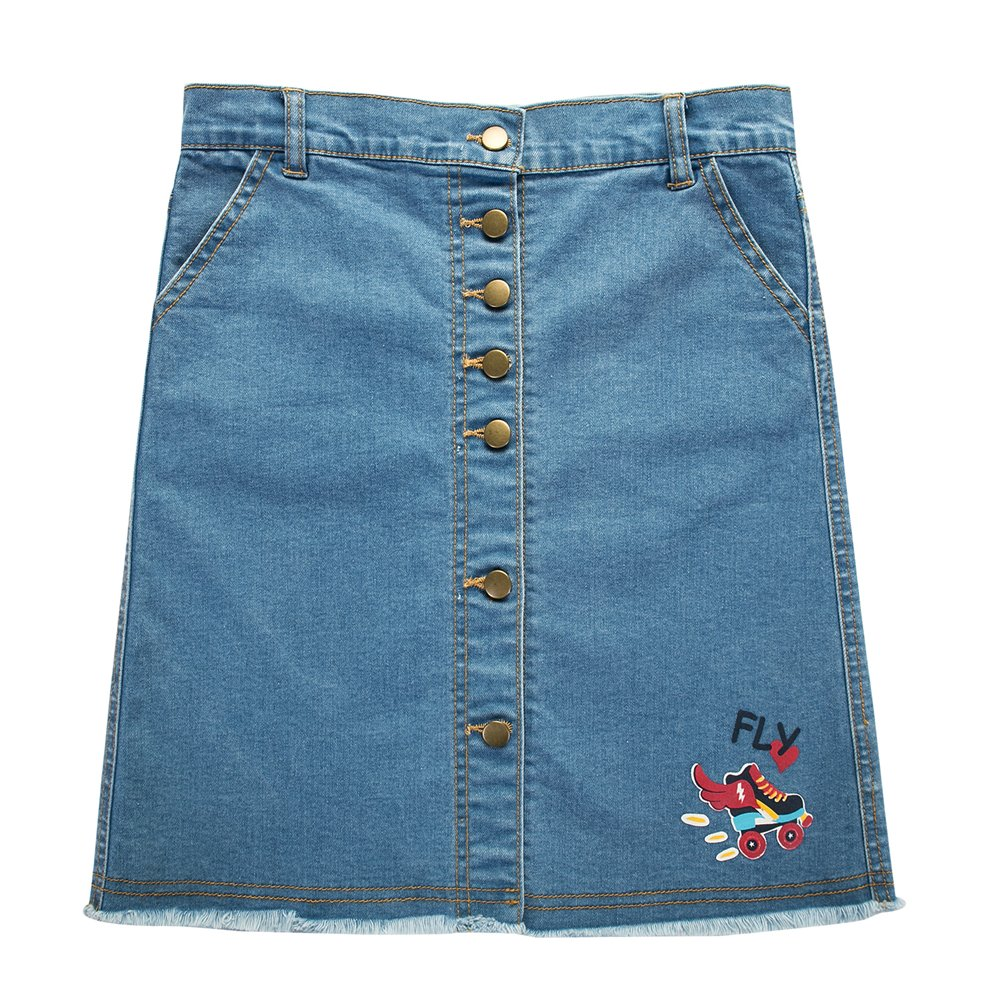 UNACOO Girls' Botton Front Cut-Off Denim Skirt A-line Short Jeans Skirt